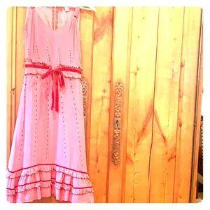Anthropologie Vintage style dress- velvet ties.